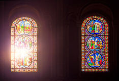 Two Stained Glass Windows Royalty Free Stock Photos