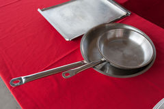 Two stainless steel pans Stock Photo