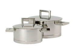 Two stainless steel pot with cover Stock Photos