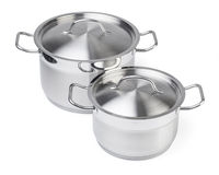 Two stainless steel pots. Stock Photo