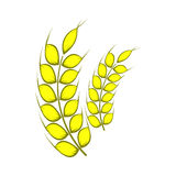 Two stalks of ripe barley icon, cartoon style Stock Photography