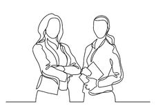Two standing business women - continuous line drawing. Vector linear illustration stock illustration