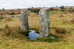 Two standing stones near to the Hurlers stone circle, Minions. Royalty Free Stock Photo