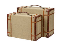 Two Standing Wood Burlap Suitcases Stock Images