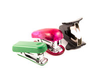 Two stapler and staple remover. Isolated on white background Stock Photos