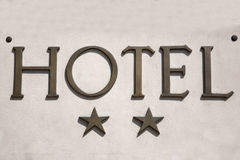 Two Star Hotel Sign Stock Photo