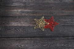 Two stars closeup on wooden background new year, Christmas. ! Stock Image