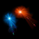 Two stars with lens flares Stock Photos