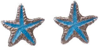 Two stars. Two silver stars earring white backgroung Stock Photography