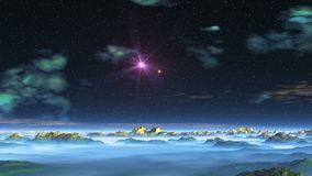 Two Stars UFO over Alien Planet. From the depths of the dark starry sky two stars fly out UFO and fly over the desert landscape. Nebulae in the sky and scattered stock illustration