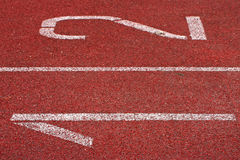 Two Start Numbers Running Tracks. Numbers of the Start Line of Athletics Running Tracks Stock Image