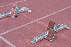 Two starting block in track Royalty Free Stock Photo