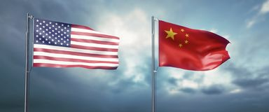 Two state flags of the united states of america and china, facing each other and moving in the wind in front of cl. 3d illustration two state flags of the united royalty free illustration
