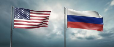 Two state flags of the united states of america and russian federation, facing each other and moving in the wind i. 3d illustration two state flags of the united vector illustration