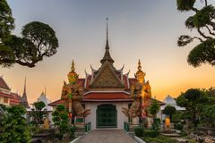 Two statue giant at churches Wat Arun royalty free stock photo