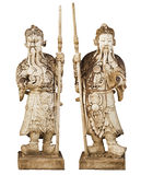 Two statues of ancient Chinese warriors isolated on white backgr Stock Images