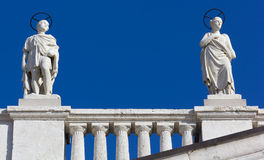 Two Statues on a Palace in Trieste Stock Image