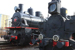 Two steam locomotives Stock Photo