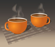 Two Steaming Autumn Coffee Mugs. Two burnt-orange coffee mugs filled with steaming coffee on a placemat/tablecloth Stock Photo