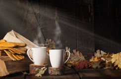 Two Steaming Cups Coffee Royalty Free Stock Photos