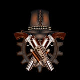 Two steampunk revolvers and hat Stock Images