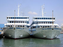 Two steamships on the pier Stock Photo