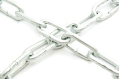 Two steel chains on white Stock Photo