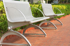 Two steel chair in the park. At day Royalty Free Stock Photos