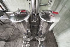 Two steel chrome tank, top view. Compressed air supply system stock photography