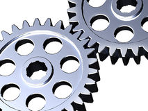 Two steel cogwheel Stock Photos