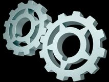 Two steel gears Stock Photos