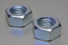 Two steel nuts Stock Photo