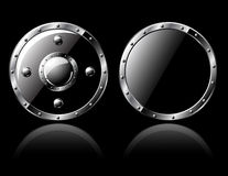 Two Steel Shields - isolated on Royalty Free Stock Photo
