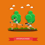 Two steeplechase female athletes, flat design Stock Images
