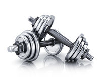 Two stell dumbbells Royalty Free Stock Photo
