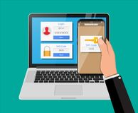 Two steps authentication concept. Laptop with login into account and hand with smartphone with sms app. Duo verification by phone and approvement. Vector Royalty Free Stock Photography