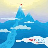 Two steps to success - mountains. This illustration depicts the endless mountains, which all lead us to the top, the top goal of success. Important only Stock Photos
