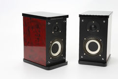 Two stereo audio speakers on white background Royalty Free Stock Photography