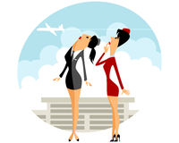 Two stewardess in airport Stock Photography
