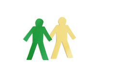 Two stick figures holding hands over white background Stock Images