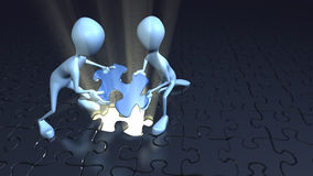 Two stick figures placing puzzle piece together. Two blue stick figures together placing blue puzzle piece in place with a ray of light coming out of puzzle hole Stock Image