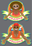 Two sticker (welcome) Stock Photo