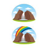 Two stickers with a picture of a waterfall. Stock Images