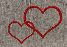 Two stitched heart Stock Photos