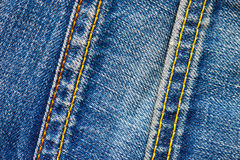 Two stitches on jeans Stock Photos