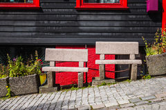Two stone benches on the street in Bergen Stock Image