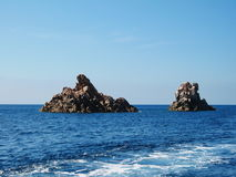 Two stone formations in Mediterranean sea near Corsica island. France Royalty Free Stock Image