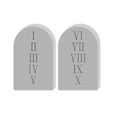 Two stone with the ten commandments  on white background. Two stone with the ten commandments  on white background in flat style Stock Photos