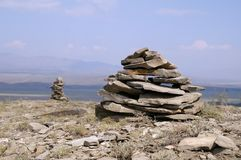 Two stone zen towers Royalty Free Stock Images