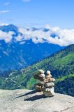 Two stones pyramid at mountains Royalty Free Stock Photo